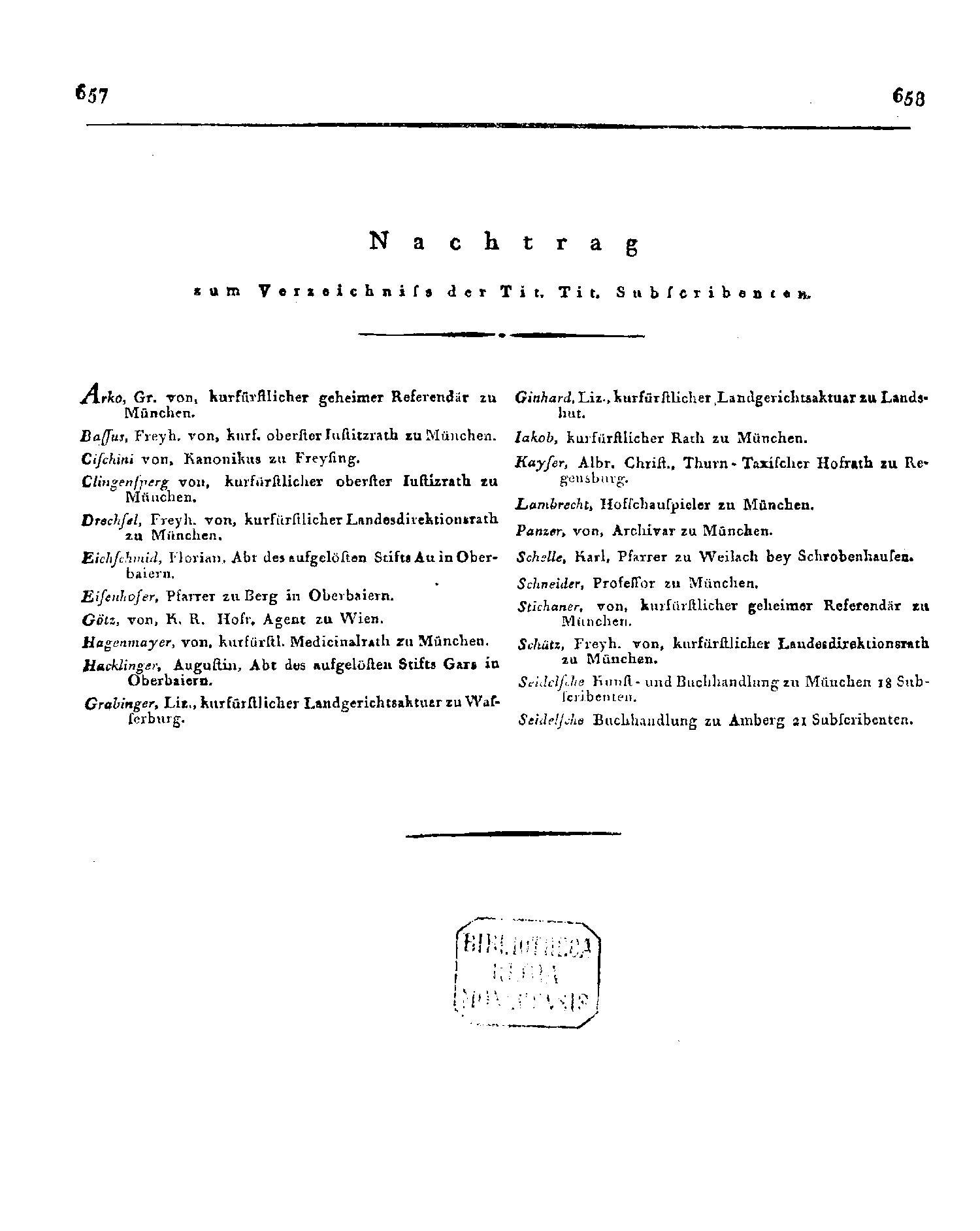 Nachtrag zum Verzeichnis der Tit. Tit. Subcribenten